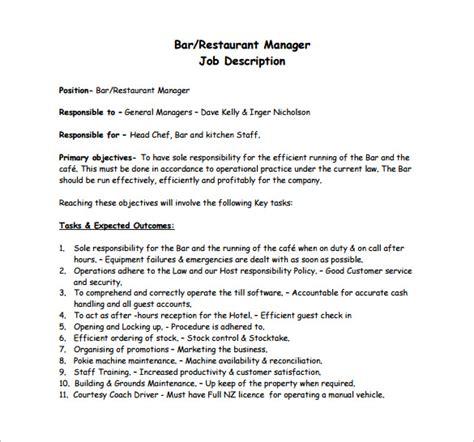 restaurant manager description templates 10 free