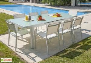 salon de jardin verre trempe table jardin extensible aluminium et verre tremp 233 alga dcb garden