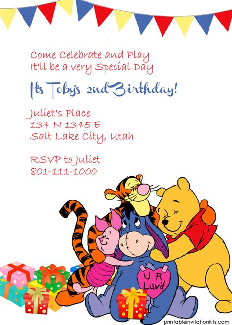 Winnie The Pooh Templates by 40th Birthday Ideas Winnie The Pooh Birthday Invitation