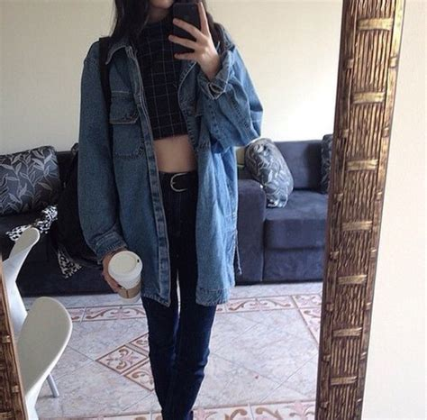 Jacket coat denim jacket tumblr outfit grunge jean jacket - Wheretoget