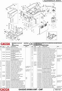 Gaggia Anima Deluxe Parts Diagram User Manual