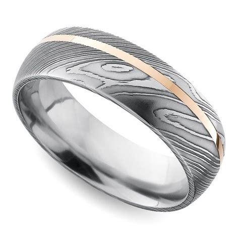 offset rose inlay domed men s wedding ring in damascus steel