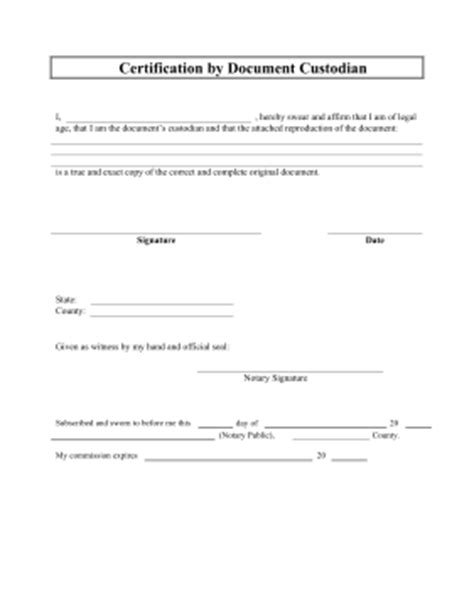 certification of documents printable certification by document custodian