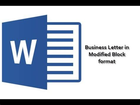 business letter modified block format youtube