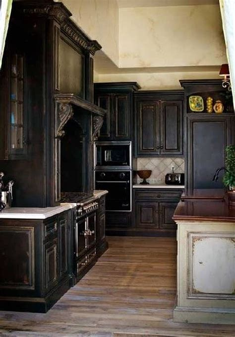 Elegant Distressed Black Kitchen Cabinets With Hardwoord
