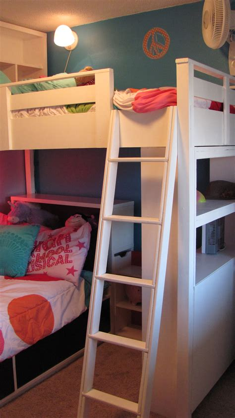 Loft Bed by White Loft Bed W Bookcase And Headboard Diy Projects