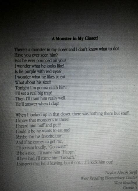 Taylor won a poetry contest in 4th grade with a poem ...