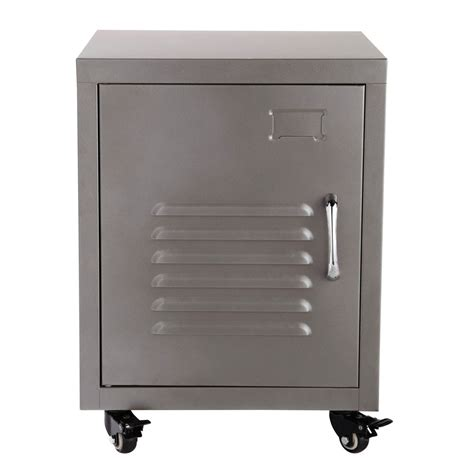 couleur chambre de nuit metal bedside table on castors in grey w 37cm loft