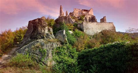 castle ruins   hill  austria image  stock photo