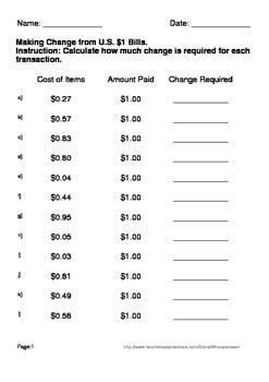 making change worksheets  whooperswan teachers pay
