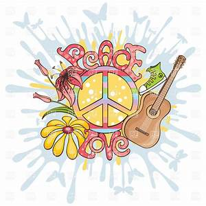 Peace and love - hippie symbols Royalty Free Vector Clip ...
