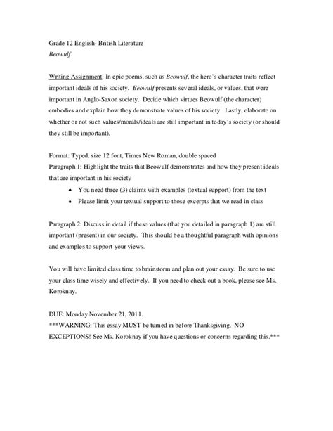 Beowulf Resume Assignment by Political Ideology Essay Jpg