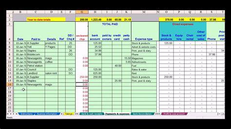 hairdresser bookkeeping spreadsheet youtube