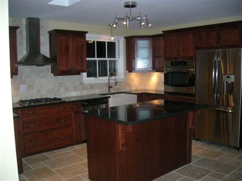 New Kitchen , Cherry cabinets, black granite counters