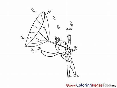 Wind Colouring Coloring Children Pages Autumn Sheet