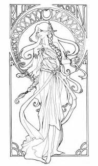 Alphonse Mucha Coloring Book Pages