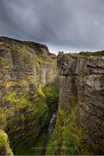 Waterfall Glymur Highest Iceland Hiking Majestic Mossy