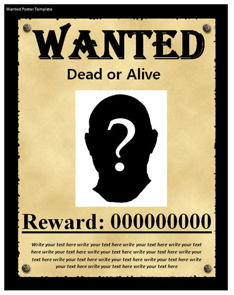 Wanted Dead Or Alive Poster Template Free by 20 Free Wanted Poster Templates To Sle Templates