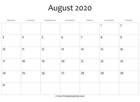 editable  august calendar