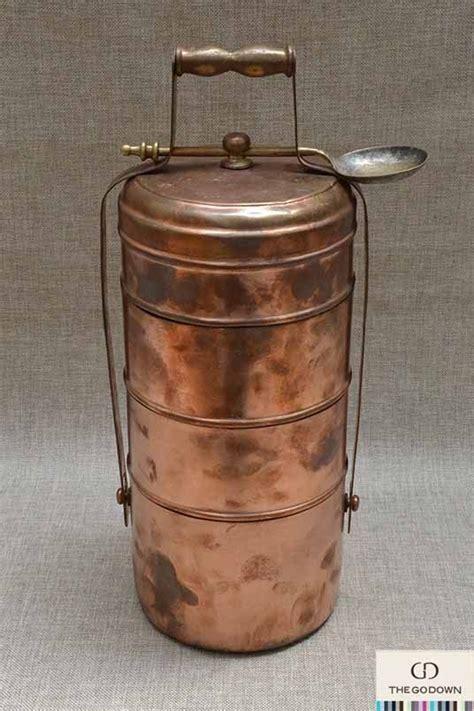 vintage copper tiffin stack lunch pail carrier   unique rare display piece