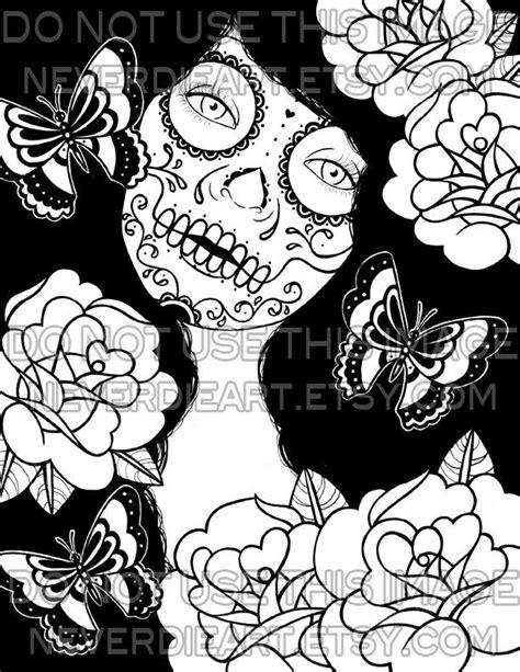 Sugar Skull Outline | Sugar Skull Outline To Color Sugar skull girl tattoo | good ideas | Tattoo