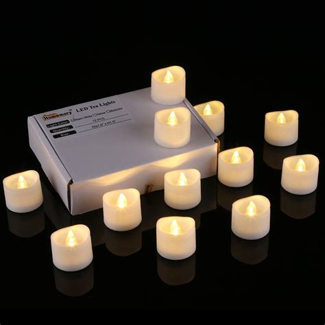 automatic tea light candles 12pcs wavy led tea light candles warm white homemory