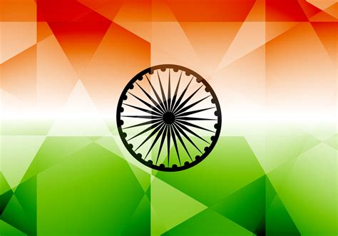 Indian Flag With Polygon Shape - Download Free Vector Art