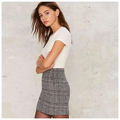 Skirt Plaid Skirts Waist Casual Short Office