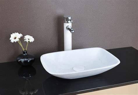 Modern Above Counter Bathroom Sinks by Lima Above Counter White Marble Basin Modern