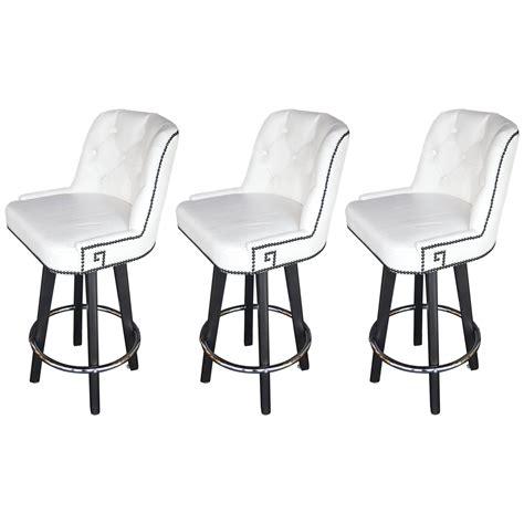 set of three white leather bar stools at 1stdibs