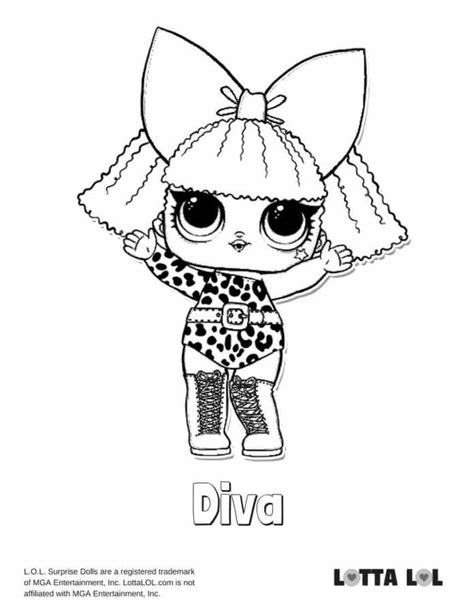 Lol Coloring Surprise Diva Pages Doll