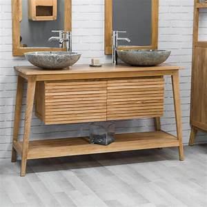 Meuble Style Scandinave : meuble sous vasque double vasque en bois teck massif scandinave naturel l 140 cm ~ Teatrodelosmanantiales.com Idées de Décoration