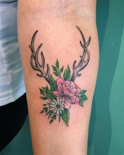 floral antler tattoo antler tattoos small wrist tattoos