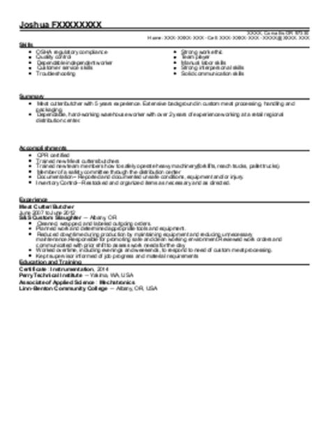 cutter resume template megadyne 11 butchers and