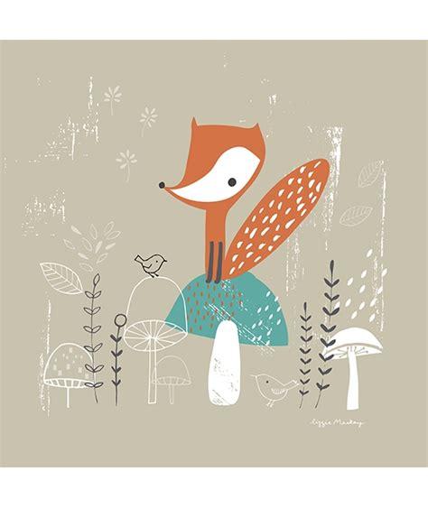 stickers ours chambre bébé tableau enfant thème forêt le renard décoration lilipinso