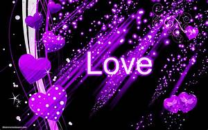 Black abstract wallpaper with purple love hearts | HD ...