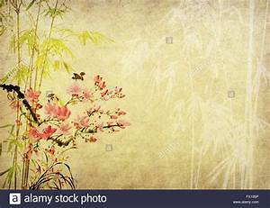 Traditional chinese painting Bamboo on Old antique vintage ...