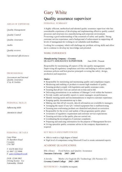 Quality Technician Resume by Quality Assurance Cv Sle