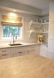 kitchen roman shade transitional kitchen studio mcgee With kitchen cabinets lowes with yellow grey wall art