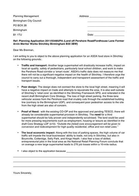objection letter template super stirchley