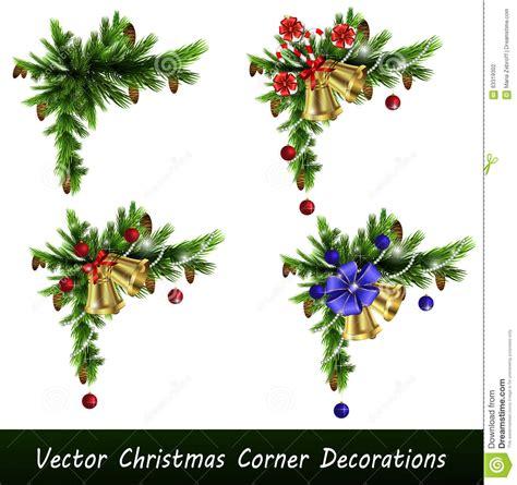 set  christmas corner decorations stock vector image