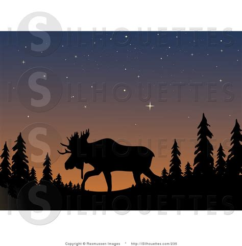 Silhouette Clipart Of A Moose With Large Antlers