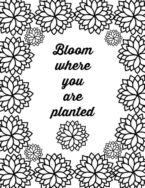 printable flower quote coloring pages color