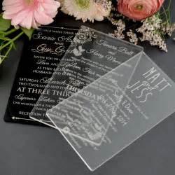 unique wedding invites 11b engraved acrylic wedding invitations unique wedding