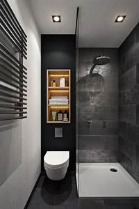 Douche Petit Espace : salle de bain grise petite et moderne avec douche italienne et coin wc home decor pinterest ~ Voncanada.com Idées de Décoration