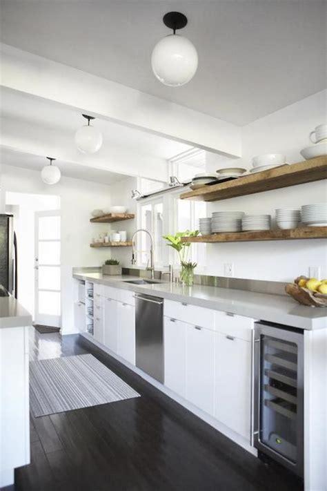 rustic floating shelf contemporary kitchen studio