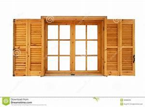 Fenetre en bois avec des volets ouverts photo stock for Volet de fenetre en bois