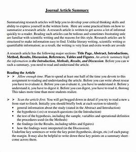 7 article summary samples sample templates With science article summary template