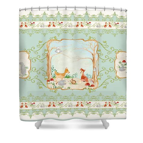 woodland shower curtain woodland tale aqua blue forest gathering of