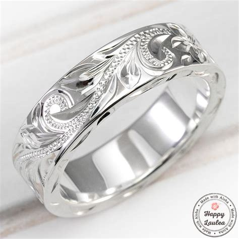 sterling silver hawaiian jewelry ring hand engraved